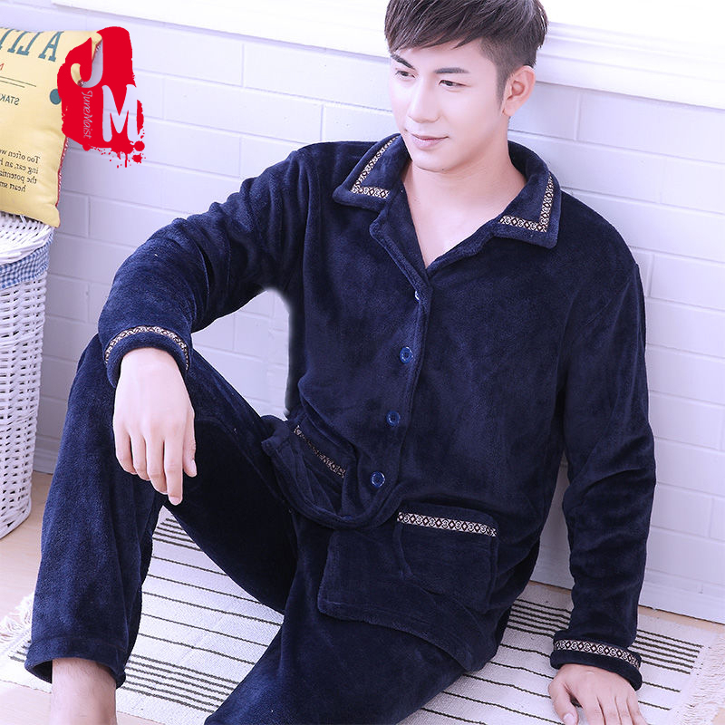 Pajama Man Winter Coral Fleece Warm Men's Sleepwear Solid Elastic Waist Warm Pijama Autumn Solid Pyjamas Men Flannel Sleep XXXL