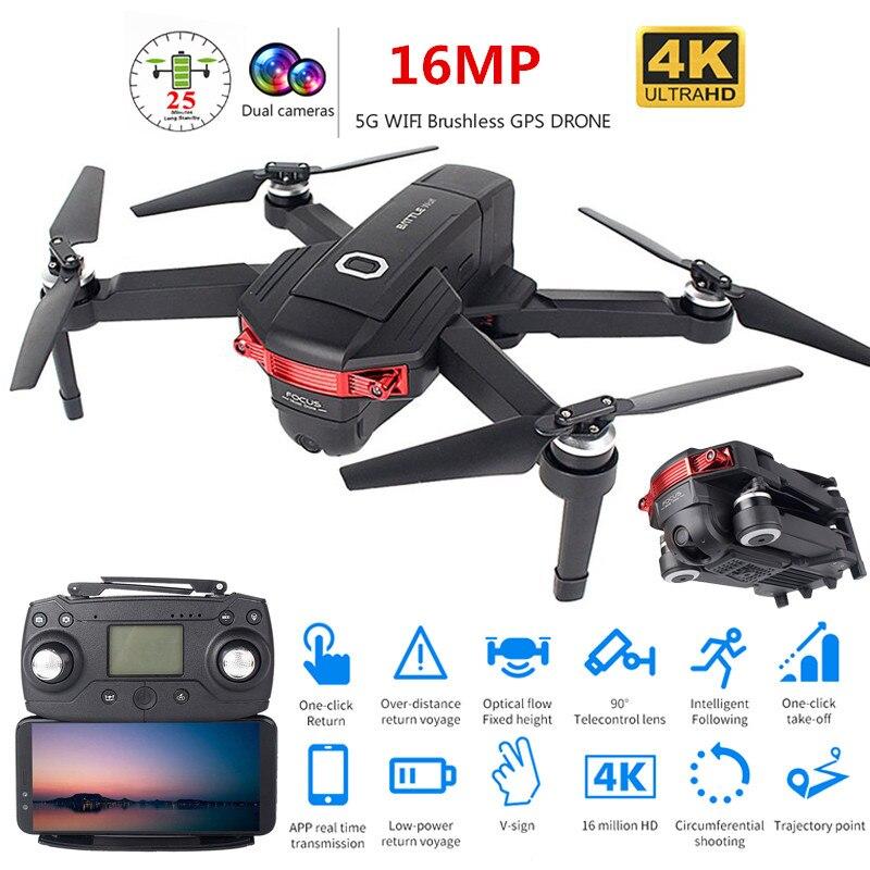 Nova Dobrável Profissional Brushless Zangão com Câmera Dupla 4K HD 5G WiFi GPS RC Quadcopter FPV Grande Angular helicóptero de Brinquedo