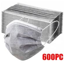 10-600 pces máscara descartável máscara facial cinza nonwove 3 camada máscara boca filtro anti poeira respirável máscaras adultas protetoras navio rápido