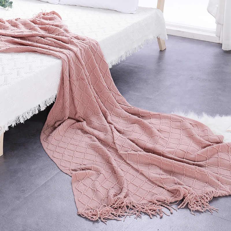 Nordic koc Super miękka kanapa bawełniania ręcznik na kanapie Sofa dekoracyjna narzuta rzuca szwy podróż samolot koc