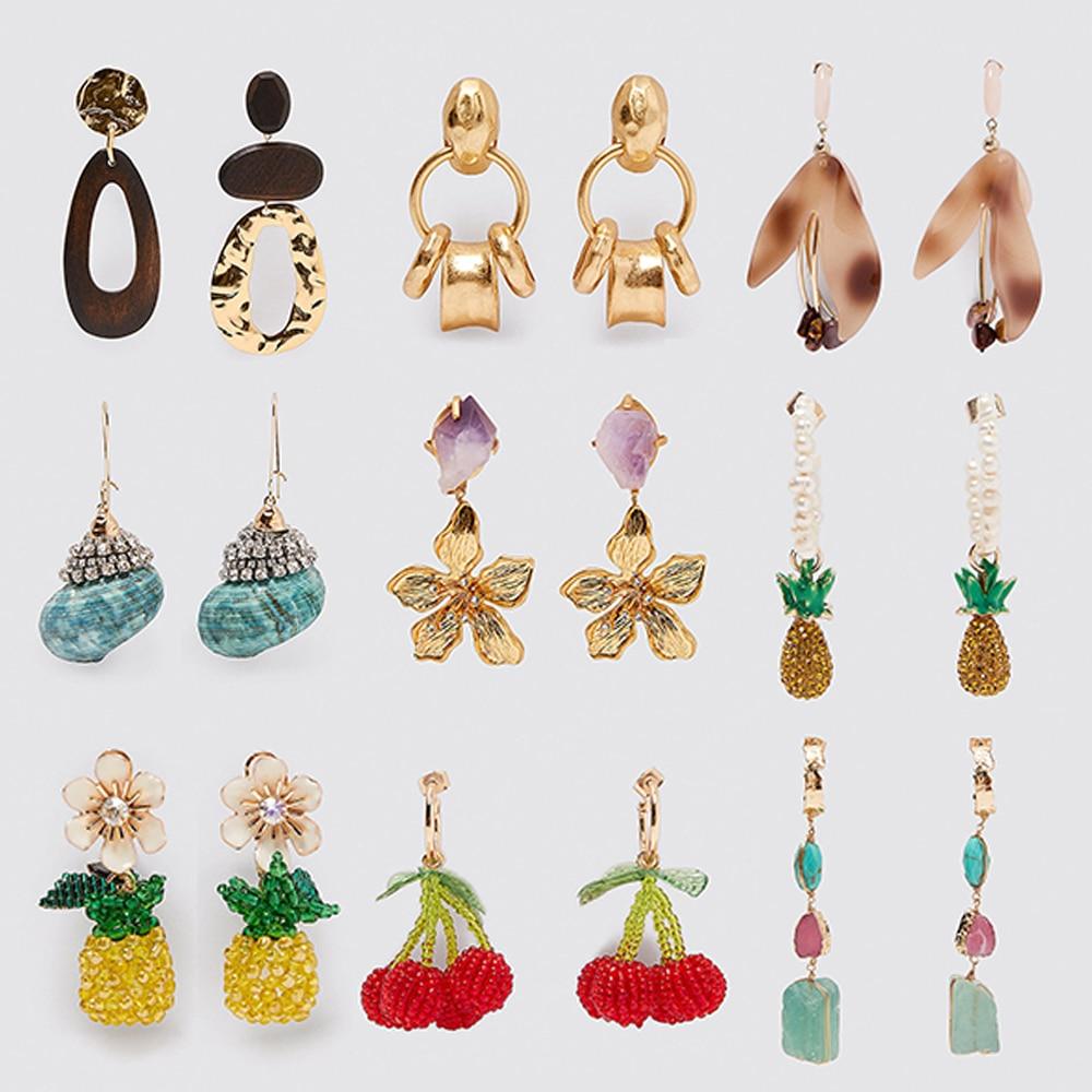 2020 New ZA Earrings Women Variety Designs Resin Shell Crystal Jewelry Pendant Flowers Fruits Drop Dangle Earrings Boho Colorful