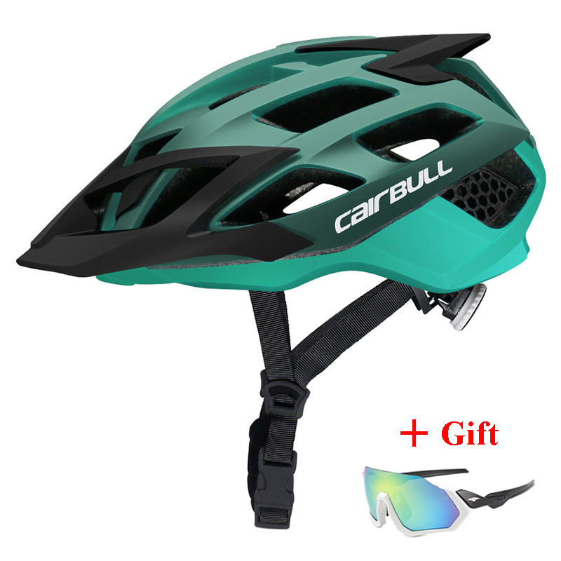 Newest TRAIL DH XC MTB Bicycle Helmet with Sunglasses Ultralight Road Bike Mountain Bike Helmet In-mold Racing Cycling Helmets image