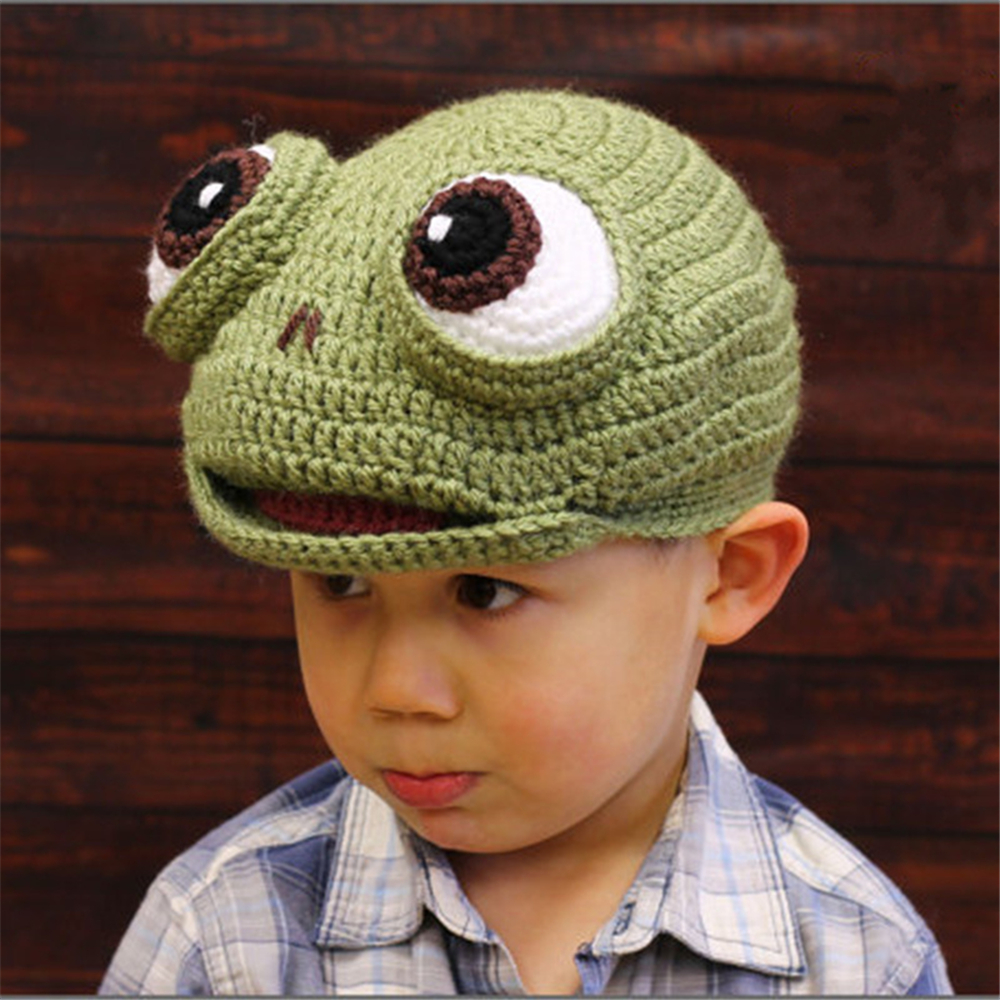 New Children's Hat Cartoon Animal Frog Hat Autumn And Winter Wool Woven Children's Wear Baby Hat Cosplay Costume Anime