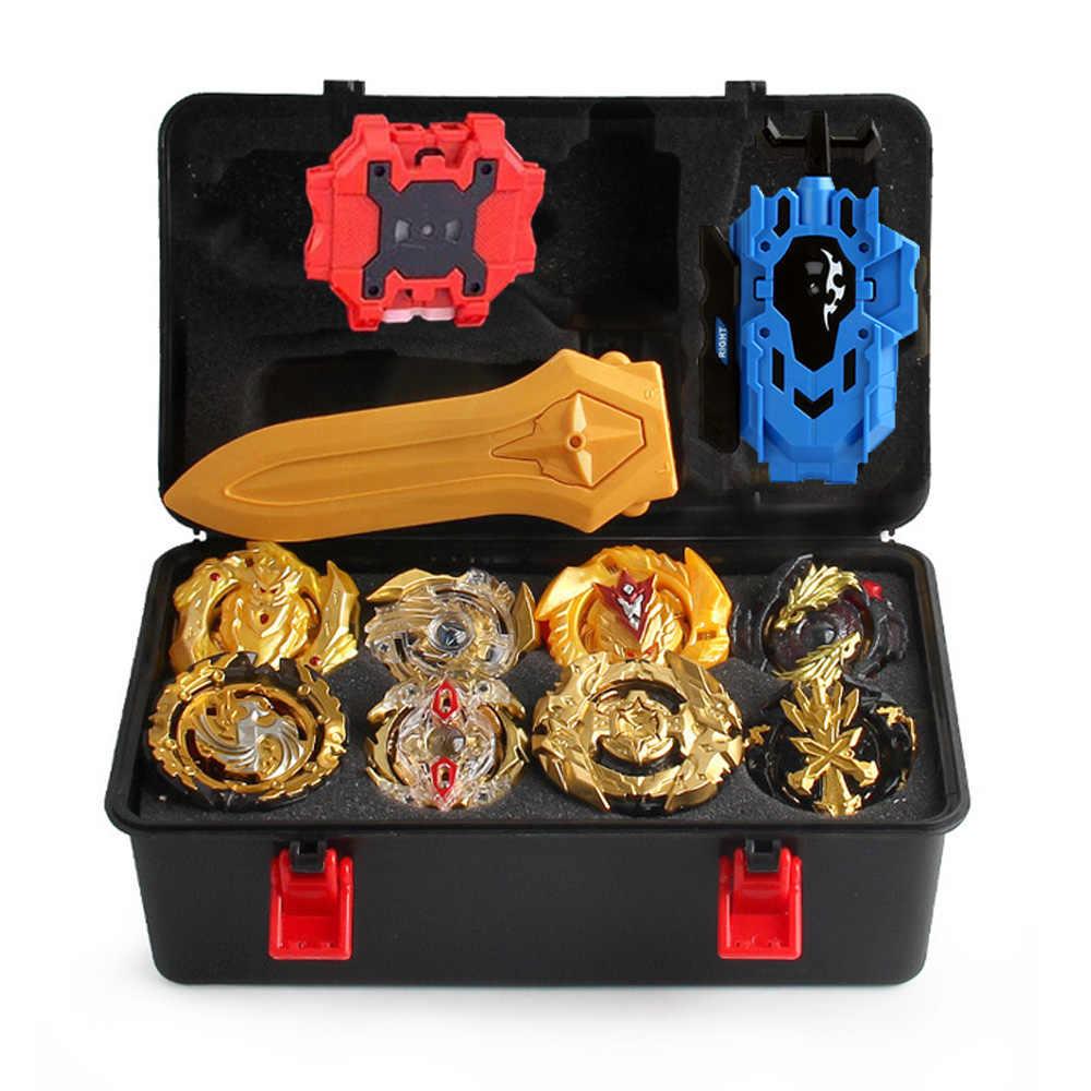 탑스 beyblade 버스트 gt bey 블레이드 장난감 금속 funsion bayblade 세트 스토리지 박스 실행기 플라스틱 상자 완구 어린이를위한