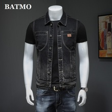BATMO 2021 new arrival spring&summer high quality denim vest jackets men,male vest,H8167