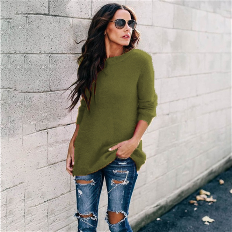 Women's sweater Plus Size Knitted O-neck Pullovers Autumn Winter Basic sweater Casual Loose Pullovers 5XL winter clothes women 3