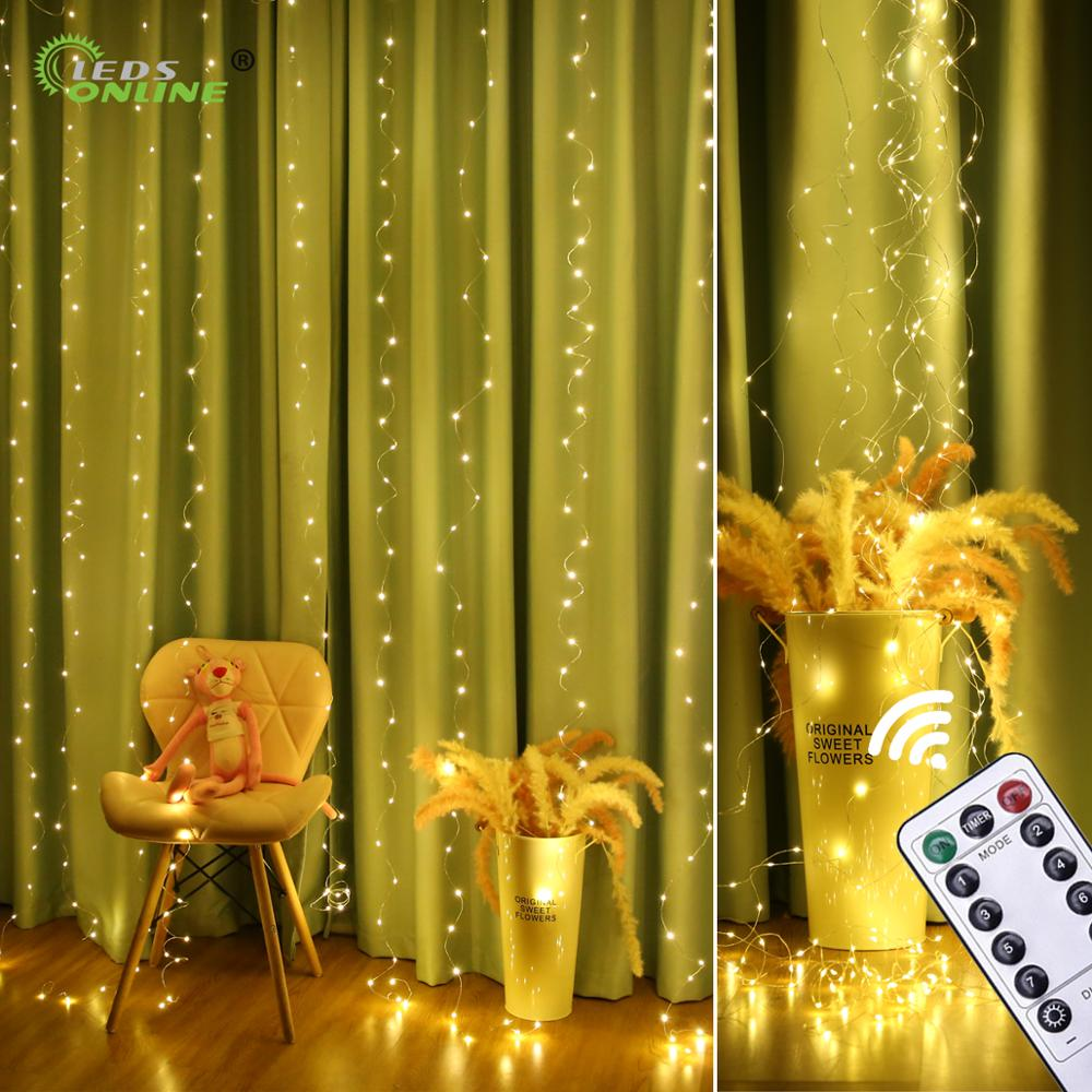 New Copper Wire Curtain String Light Christmas 300 LED 3x3m Twinkle Window Fairy IP65 5V USB IR Remote Wedding Party Holiday