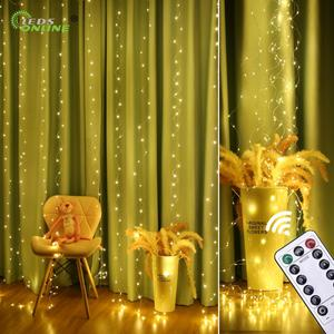 Image 2 - New Copper wire Curtain String Light christmas 300 LED 3x3m Twinkle Window fairy IP65 5V USB IR Remote Wedding Party Holiday
