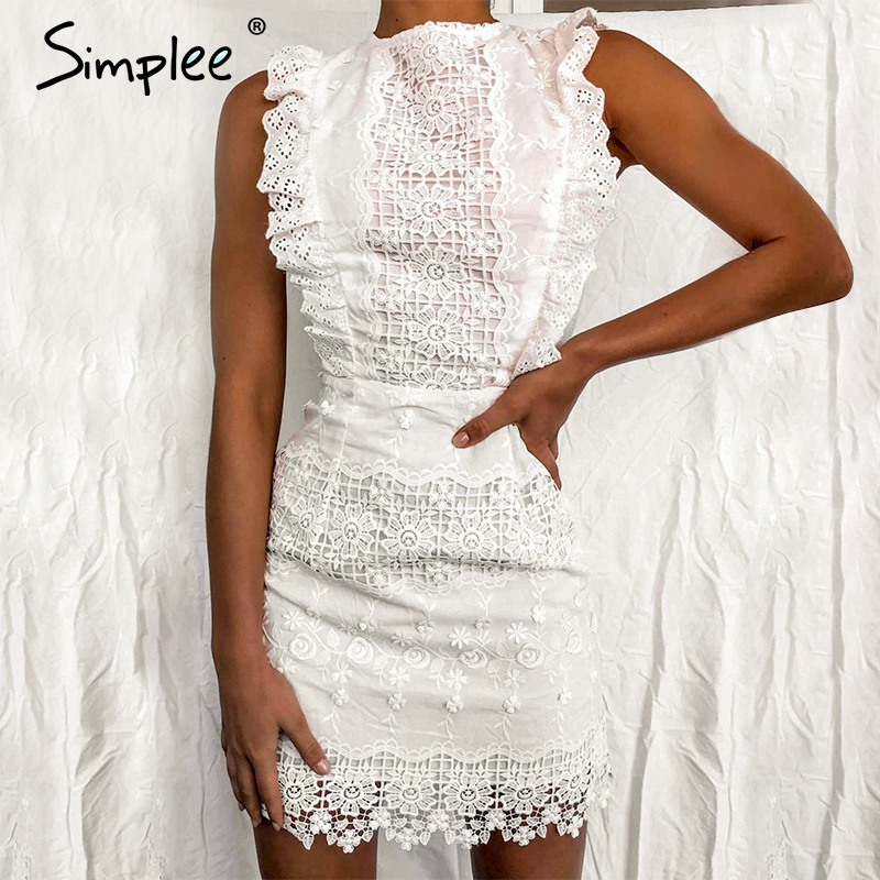 Simplee Sexy Sleeveless White Dress Backless Ruffled Strap Lace Bodycon Dress Elegant Ladies Summer Mini Party Dress Vestidos