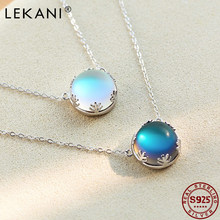 Lekani aurora pingente colar halo cristal gem s925 prata esterlina moda colar feminino elegante presente de aniversário