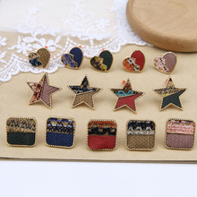 2 pcs 2019 new design fashion ethnic style embroidery fabric star heart-shaped stud earrings for women diy jewelry accessories цена 2017