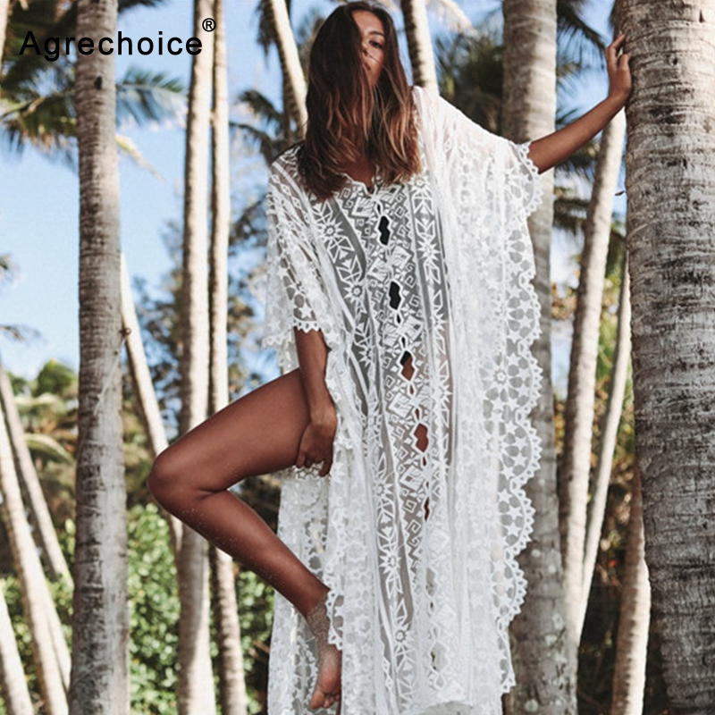 2019 New Lace Beach Cover Up Embroidery Beach Dress Loose Tunics Bikini Swimwear Women Cover Up Bathing Suit Cover-Ups Beachwear