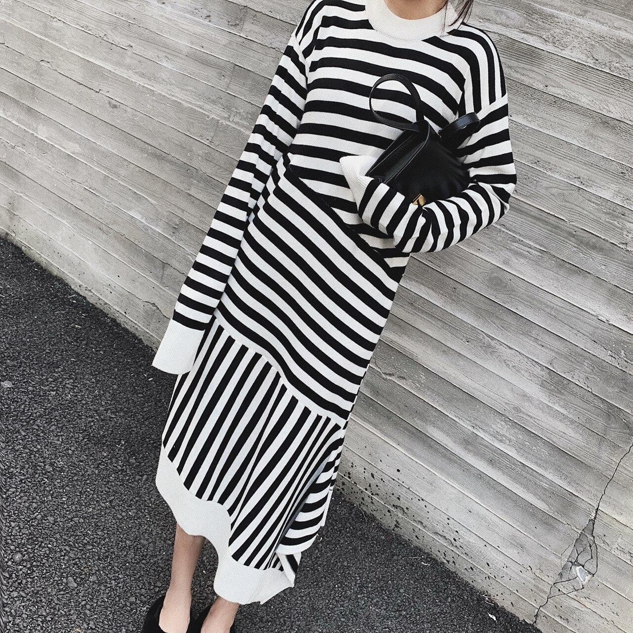 2019 nouvelle mode femmes grande taille longue noir rétro tenue décontractée rayures irrégulières imprimer dames parti Club Robe Robe 3751