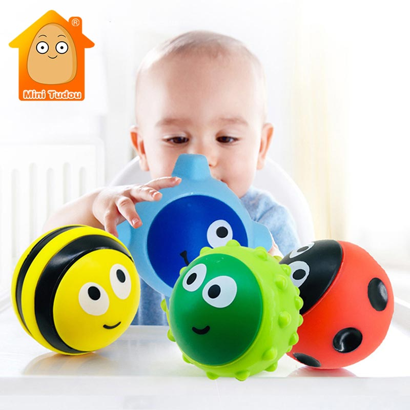 4PCS Baby Soft Hand  Ball Plastic Cute Insect Teether Stack Up Game Colorful Rubber Bath Toy Set Educational Toys For Children