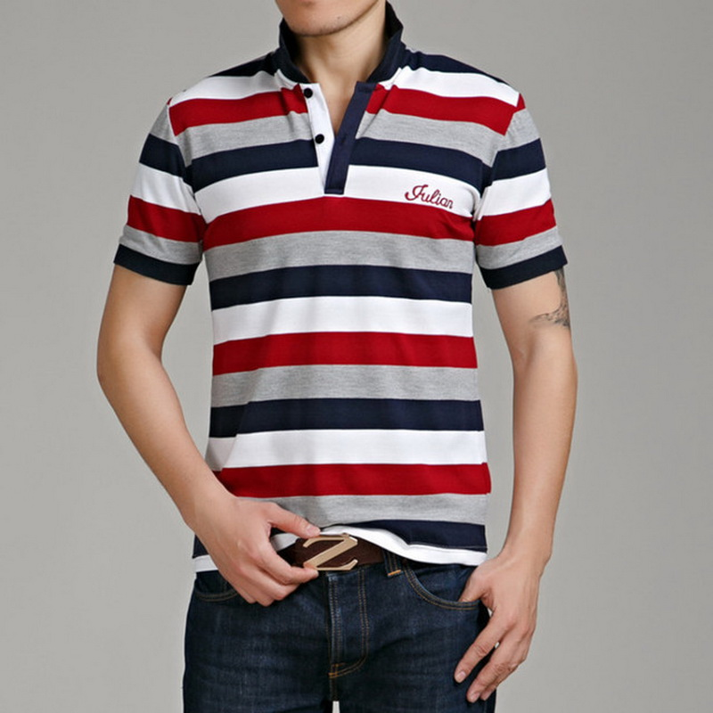Casual Design Style Brand 95% Cotton Summer Striped   POLO   SHIRT Short Sleeves Men'S Fashion Plus Size M-5XL 6XL Tops Tees Clothes