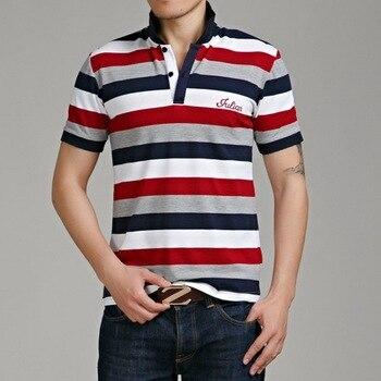 Casualowy wzór w stylu marki 95% bawełna letnia koszulka polo w paski z krótkim rękawem moda męska Plus rozmiar M-5XL 6XL topy koszulki ubrania