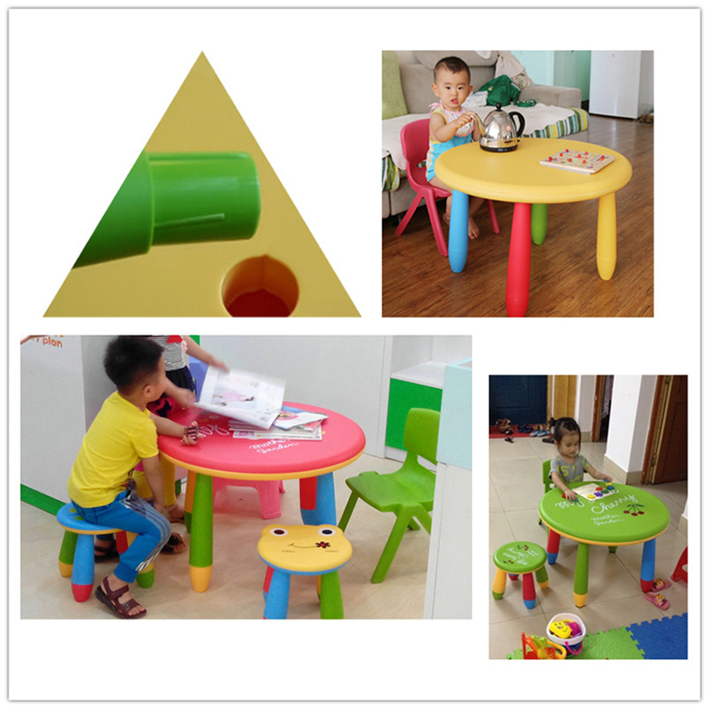 Children S Table And Chair Combination Cartoon Household Stool Baby Learning Drawing Toys Kindergarten Plastic Round Table Aliexpress