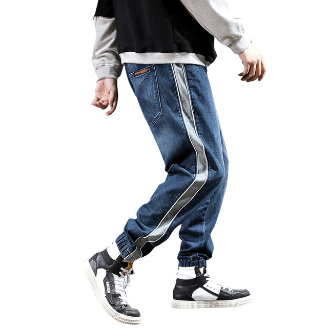 #2078 Autumn Hip Hop Jeans Men Side Spliced Striped Fashions Harem Jeans Homme Loose Streetwear Biker Jeans Blue Elastic Waist
