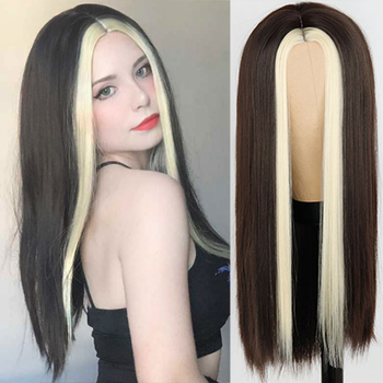 Black Long Straight Wig For Women Both sides Gold Hair Middle Part Heat Resistant Wavy Cosplay Girl - discount item  49% OFF Synthetic Hair