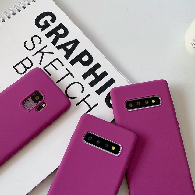DCHZIUAN mat mince solide Silicone téléphone étui pour samsung Galaxy Note 10 9 S10 S8 S9 Plus S10 5G Rose Rose housse coque