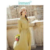 INMAN 2019 automne nouveauté Lyocell coton solide col rabattu manches longues minimalisme élégant tout assorti femmes chemise robe