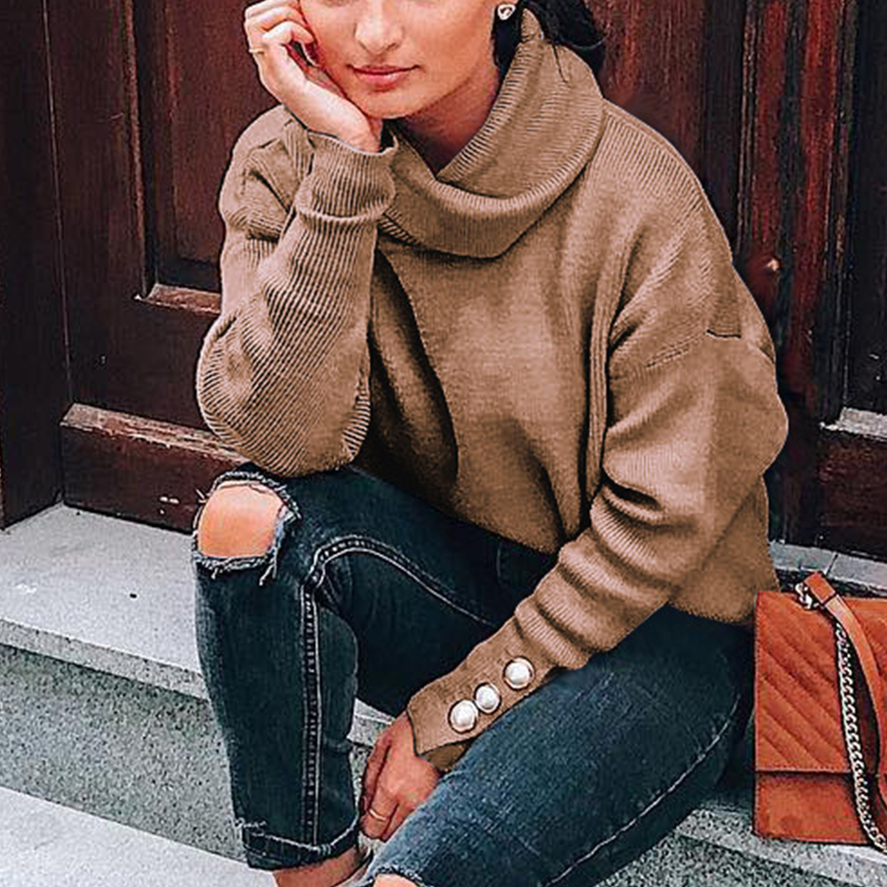 WENYUJH Casual Turtleneck Warm Knitted Sweater Autumn Winter Long Sleeve Pullover Tops Women Rivet Button Jumper Femme Plus Size