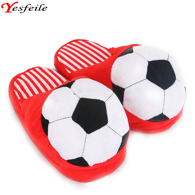 New Style Cartoon At Home Slippers Indoor Winter Slippers Adult Women Soft Slipper Lovers Winter House Gilr Football Plush Shoes