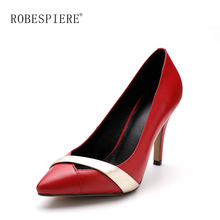 ROBESPIERE Fashion High Heels Women Pumps Mixed Colors Genuine Leather Shoes Woman Classics Pointed Toe Party Wedding Pumps A34 asumer fashion pointed toe mixed colors shallow pumps shoes woman thin heel wedding shoes women high heels genuine leather shoes