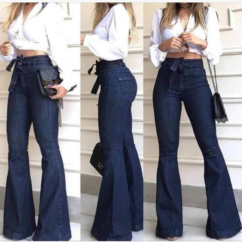 Image 4 - LIBERJOG Women Jeans Casual Bell bottoms Wide Leg Dark Blue Denim Pants Spring Autumn Female Elegant Flare TrousersJeans   -