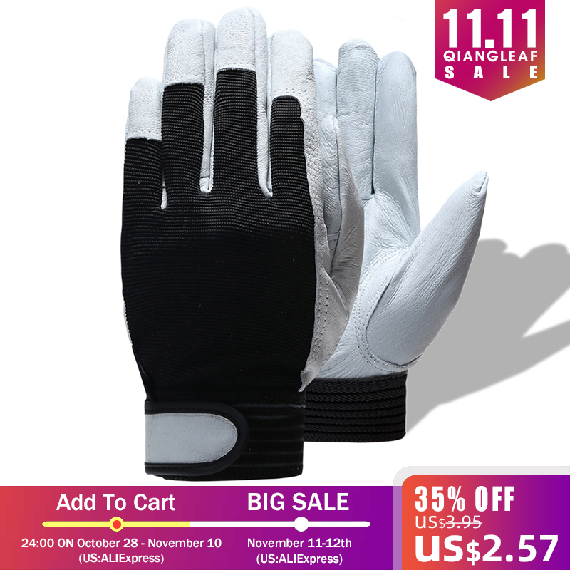 Image 5 - QIANGLEAF Brand Hot Sale D Grade Leather Glove Work Gloves Wear resistant Safety  Working Gloves Men Mitten Free Shipping 508-in Safety Gloves from Security & Protection