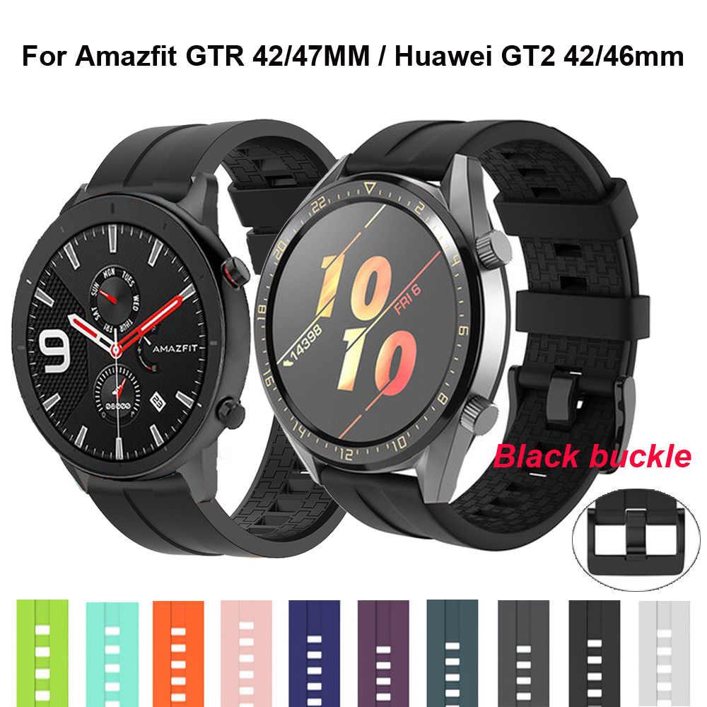 סיליקון צמיד עבור Huami Amazfit ביפ רצועת סטרטוס קצב עבור Amazfit gts gtr 42 47mm עבור Huawei שעון GT2 46mm WristStrap להקה