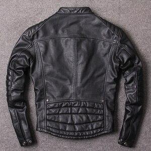 Image 5 - จัดส่งฟรี.สไตล์วินเทจMens Cowhideเสื้อผ้า,คุณภาพBikerแจ็คเก็ตหนัง,หนังแท้สีดำCoat homme Slim,