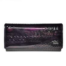 여성 지갑 정품 가죽 특허 악어 지갑 여성 디자인 클러치 백 동전 카드 홀더 지갑 악어 지갑