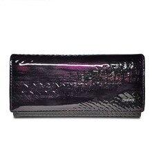 Portefeuille femme en cuir véritable verni Alligator sacs à main femme Design pochette porte carte porte monnaie portefeuilles Crocodile sac à main