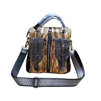 Popular Sequin Bag Female 2020 New Rhinestone Double Pocket Wide Shoulder Strap Multi-purpose Bag Shoulder Messenger Bag Handbag