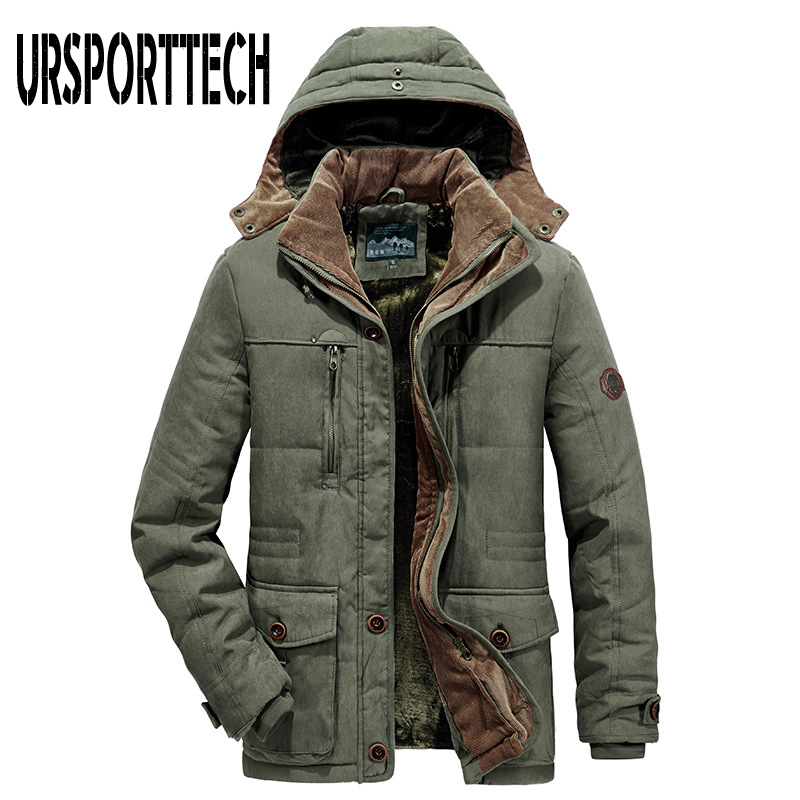 URSPORTTECH Brand Winter Jacket Men Parka Thick Warm Plus Velvet Winter Coat Men Outwear Hooded Jackets and Coats Plus Size 7XL