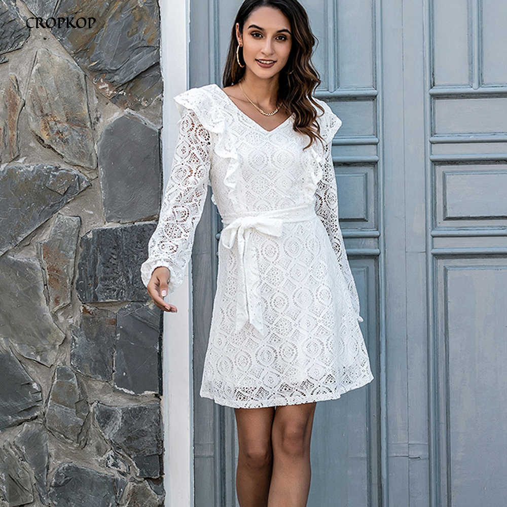 Kleid Herbst Winter Elegante Damen Rüschen Weiß Spitze Schärpen Dünne  Kleidung Langarm EINE Linie Kleider Für Frauen Partei 19 mode