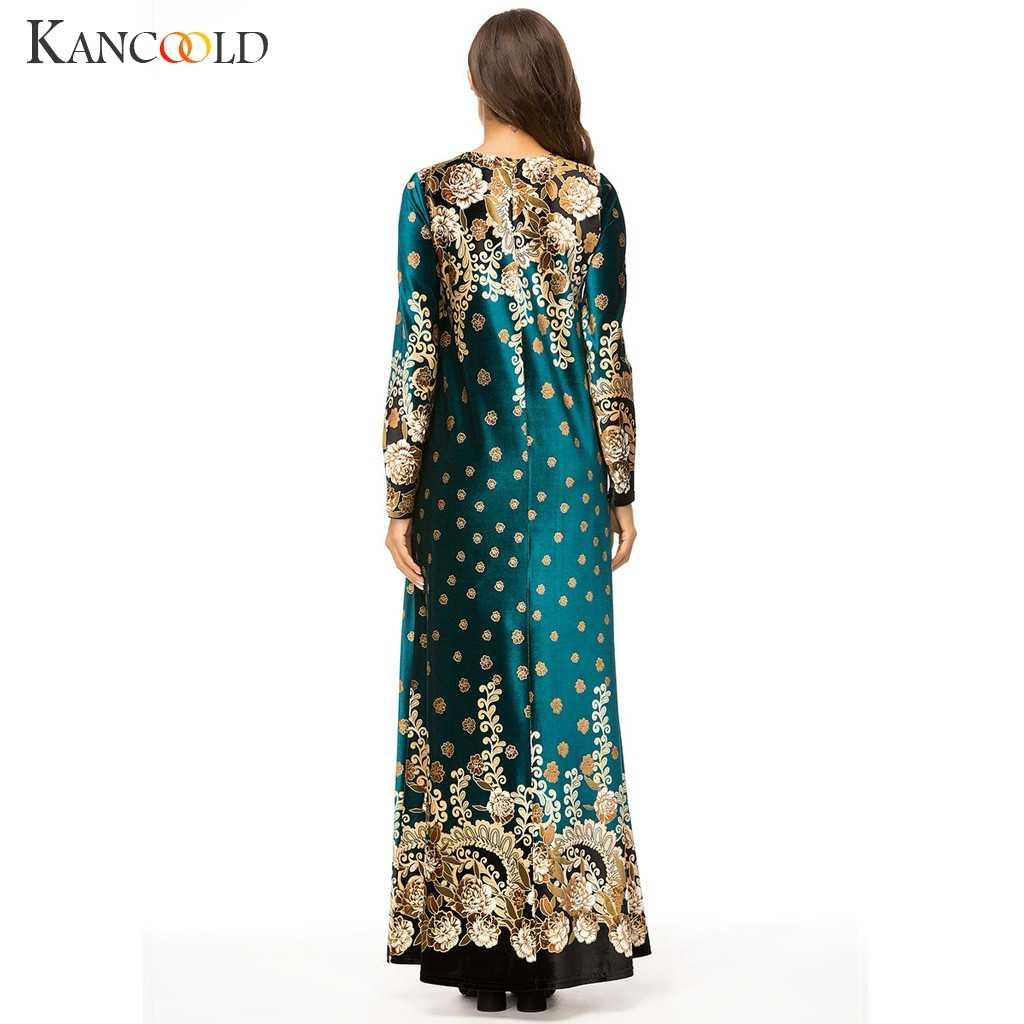 KANCOOLD มุสลิมผู้หญิงแขนยาวเย็บปักถักร้อยกำมะหยี่ดูไบ Maxi abaya jalabiya อิสลามเสื้อผ้า Robe Kaftan โมร็อกโก