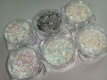 6boxes holographic, dichroic, mylar, shimmering glitter, angelina flakes, holographic rainbow, miniature nail glitter