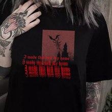Feito inferno minha casa mulheres gótico t camisa grunge estilo estético satânico gráfico t camisas feminino oversized dia das bruxas camiseta de algodão superior
