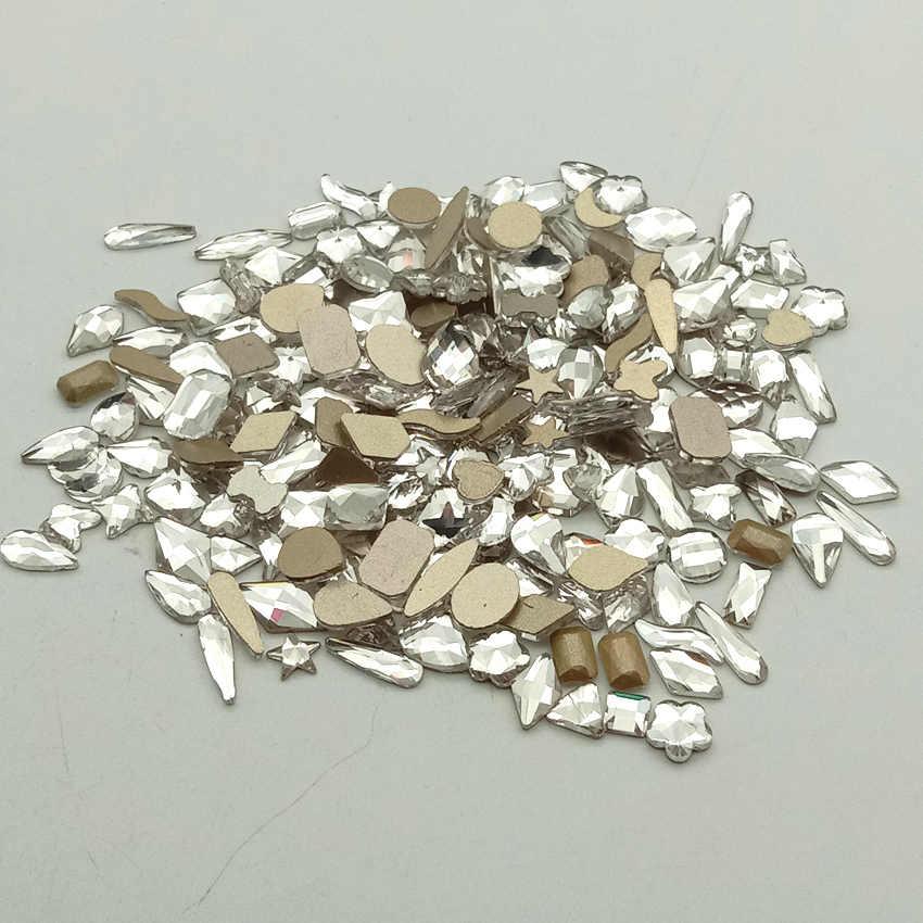 10 Buah Paku Seni Berlian Imitasi untuk Kuku Kristal Batu Kaca 3D Dekorasi Kuku Pipih Lem Di Permata Warna AB DROP oval Segitiga