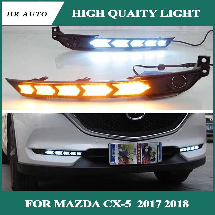 Voiture DRL LED feu de jour feu antibrouillard pour Mazda CX-5 CX5 2017 2018 jaune clignotant