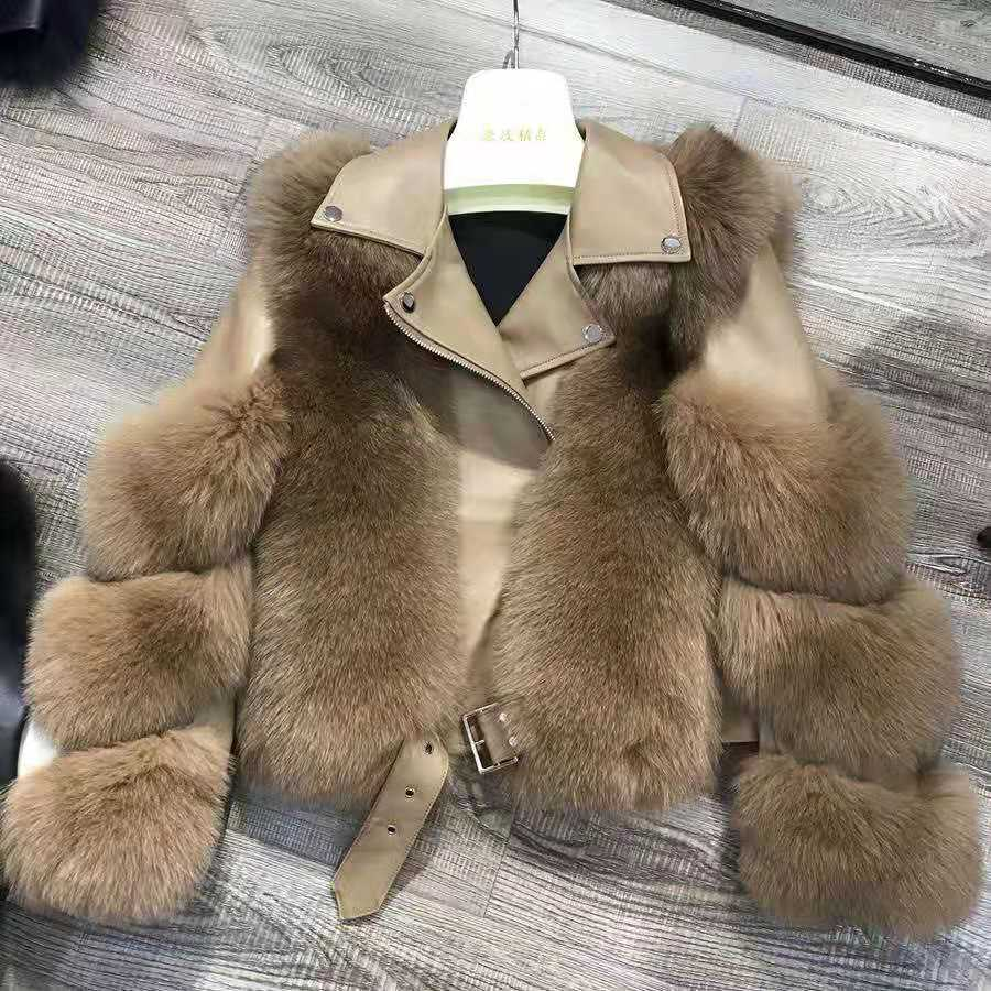 H571bb91417a44113b81227ed936fce5dn Women Faux Fur Coat with Fox Fur Winter Fashion 2021 New Motocycle Style Luxury Fox Fur Leather Jackets Woman Trendy Overcoats