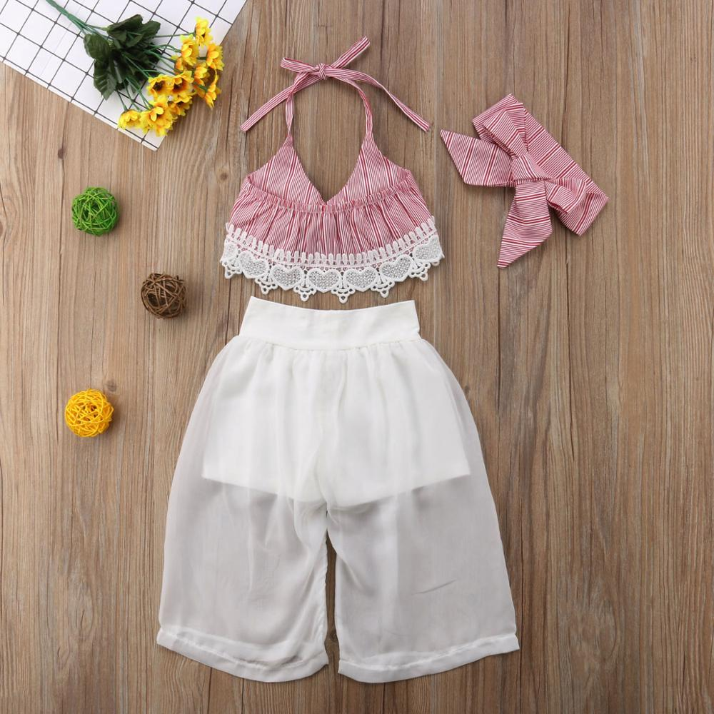 Girls Clothes Set Baby Summer Sleeveless Lace Bow Crop V-neck Tops Pants Headbands Girl Clothing 3PCS Outfits Toddler Children