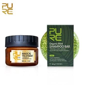 PURC Pure Gentle Organic Natural Mint hair shampoo and Magical hair mask 5 seconds Repairs damage smooth hair 60ml hair care set