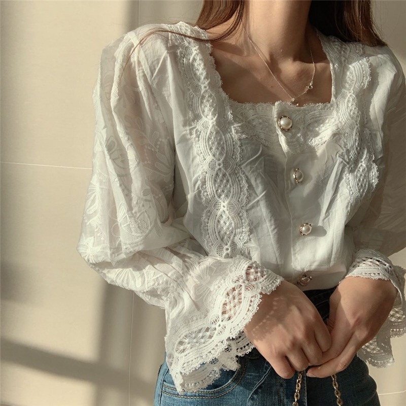 H571be02c9f514f2c873aed42ec53c02cN - Spring / Autumn Square Collar Flare Sleeves Hollow Out Pearl Buttons Blouse