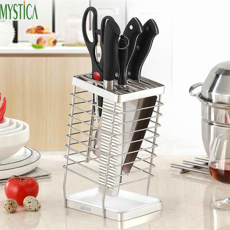 Kitchen Knife Holder Chopsticks Scissors Tableware Storage Rack Metal Knife Block Stand Kitchen Accessories Tool Organizer Shelf