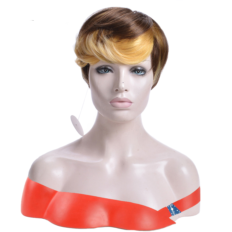 GAKA Short Straight Wig with Yellow Side Bangs African American Wigs Heat Resistant Fiber