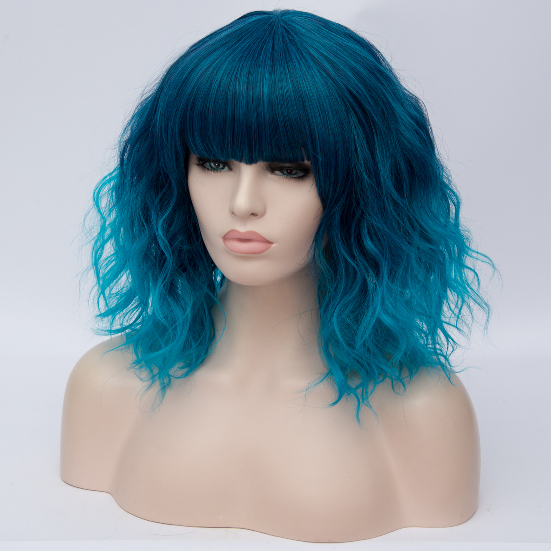 H571c237541ab4d86b99ba22feec15cd31 - Similler Short Synthetic Wig for Women Cosplay Curly Hair Heat Resistance Ombre Color Blue Purple Pink Green Orange Two Tones