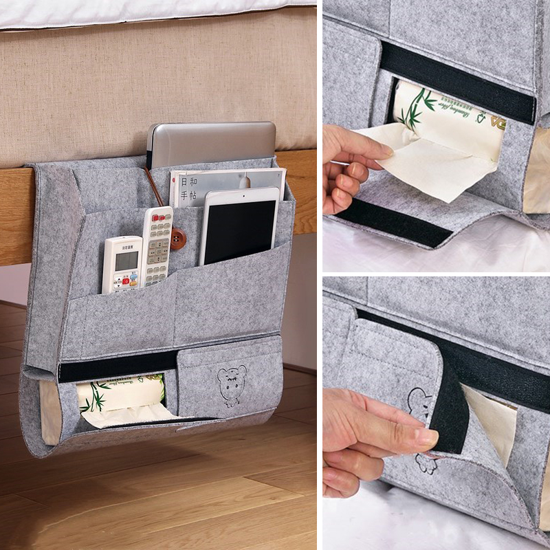 Yeahmart Bedside Storage Bag Pocket Felt Bed Hanging Organizer Book Magazine TV Remote Caddy Bunk Holder For Table Sofa Bed Grey